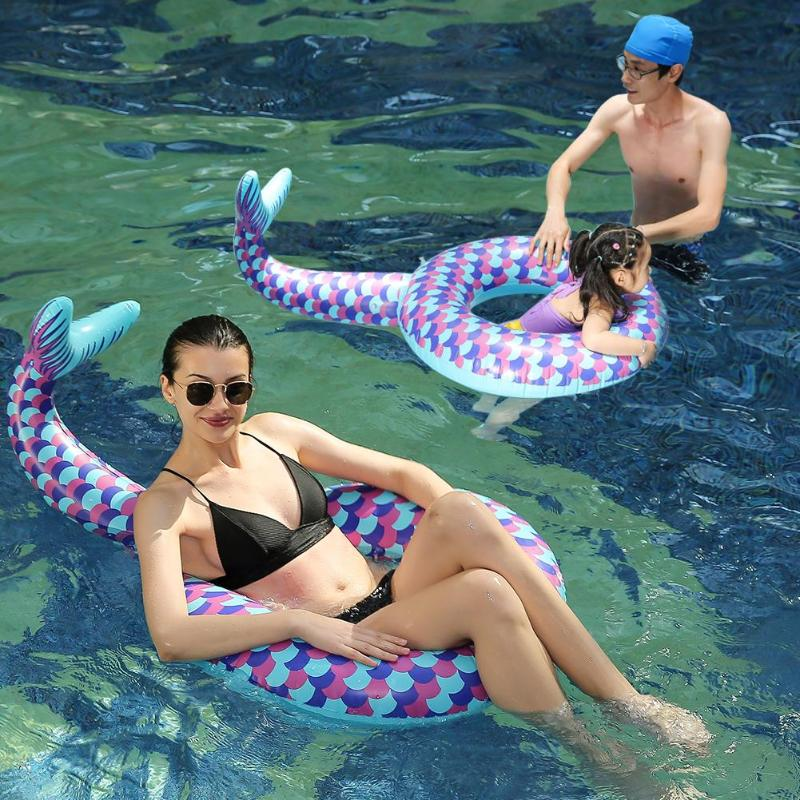1set Baby Swimming Ring Inflatable Floating Mother Child Swimming Pool Circle  Watersport Thickened Inflatable Swim Float