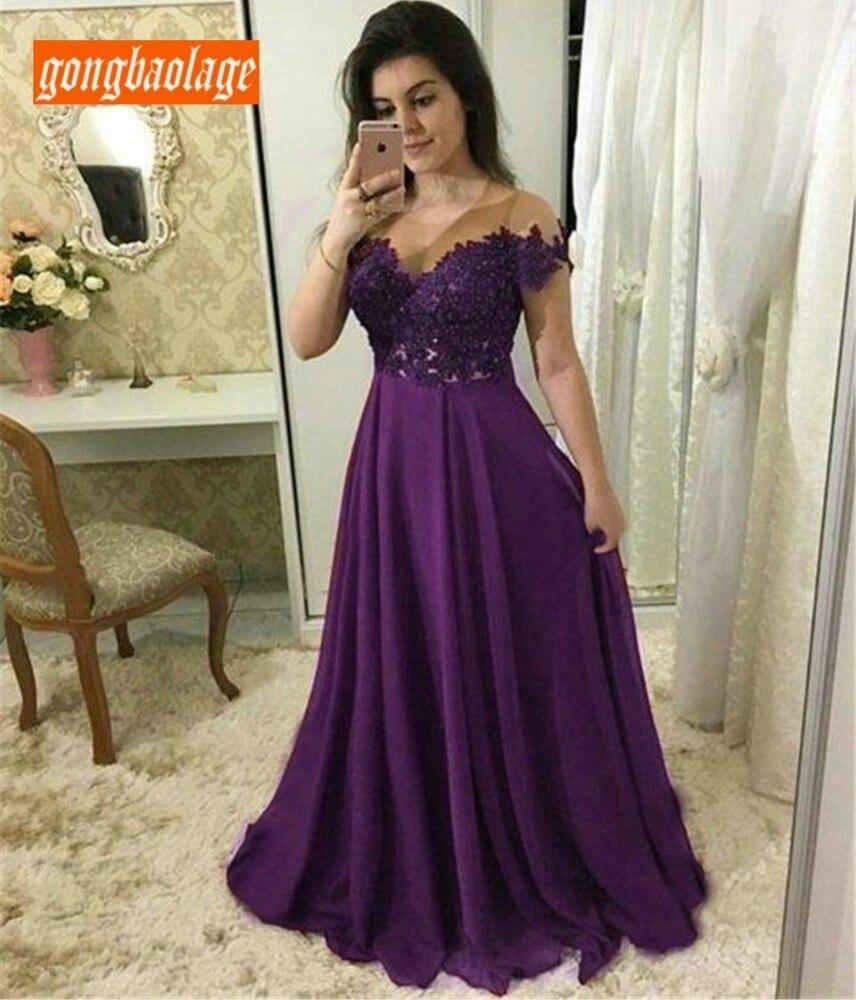 Élégant violet mousseline de soie longue robe de soirée chérie une ligne Appliques longueur de plancher robes formelles 2019 Sexy robes de soirée