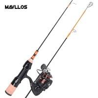 Mavllos Ultralight Ice Fishing Rod Reel Combo 8+1 Bearings Fishing Reel 2 Sections 52.5cm Portable Winter Fishing Tackle