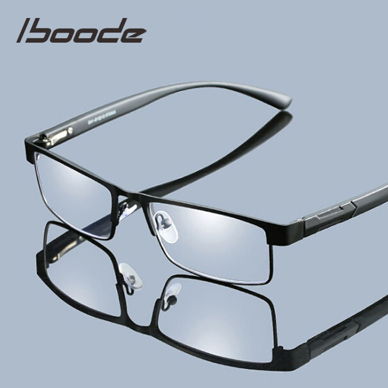 Iboode Men Reading Glasses Titanium Alloy Hyperopia Prescription Eyeglasses Retro Business Antifatigue Reading Glasses Women Men