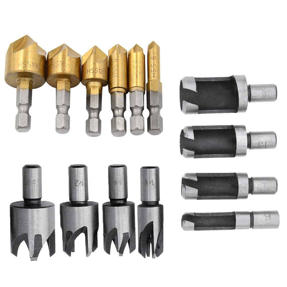 Hho 8 Pcs 5/8in 1/2in 3/8in 1/4in Wood Plug Cutter Tool Drill Bits Set Back To Search Resultstools 6pcs 1/4in Hex Shank Hss 5 Flute Countersink Drill Bi