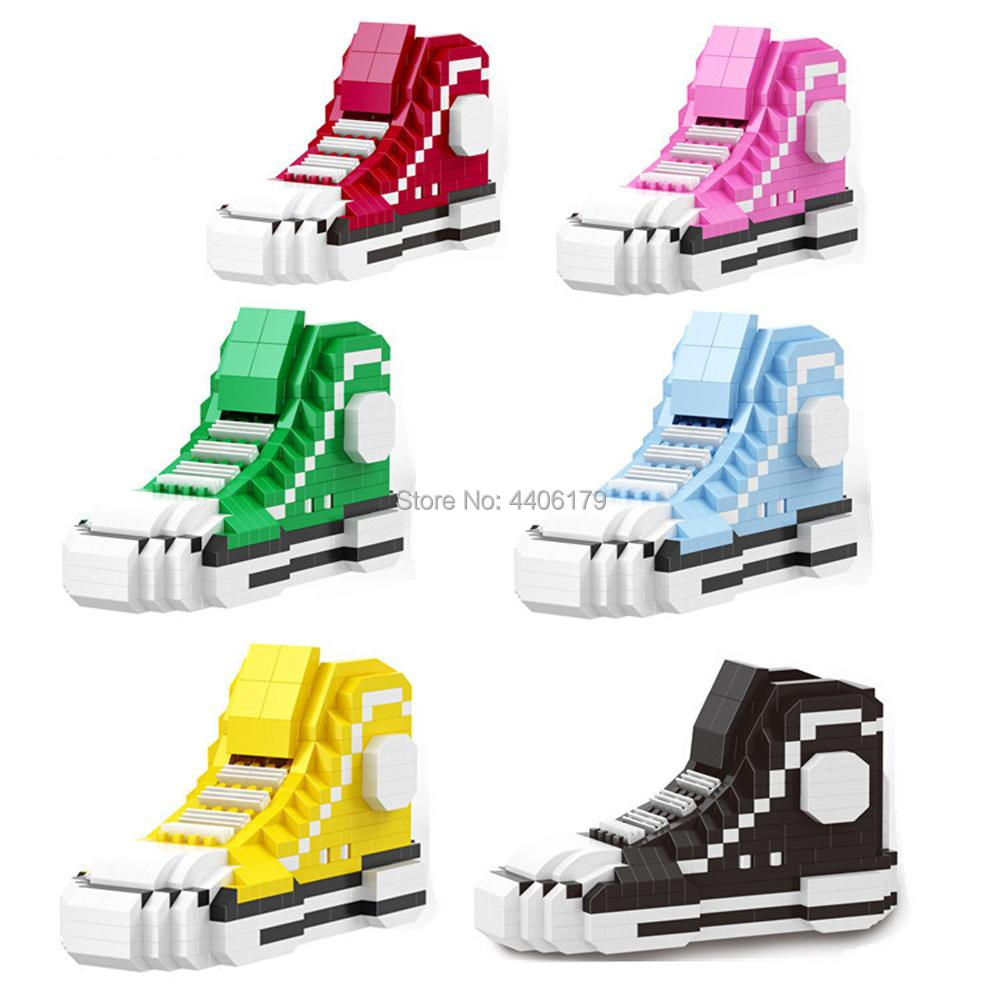 hot LegoINGlys Sports casual shoes bricks classic all star basketball shoe micro diamond building block toys for children gift in Blocks from Toys Hobbies