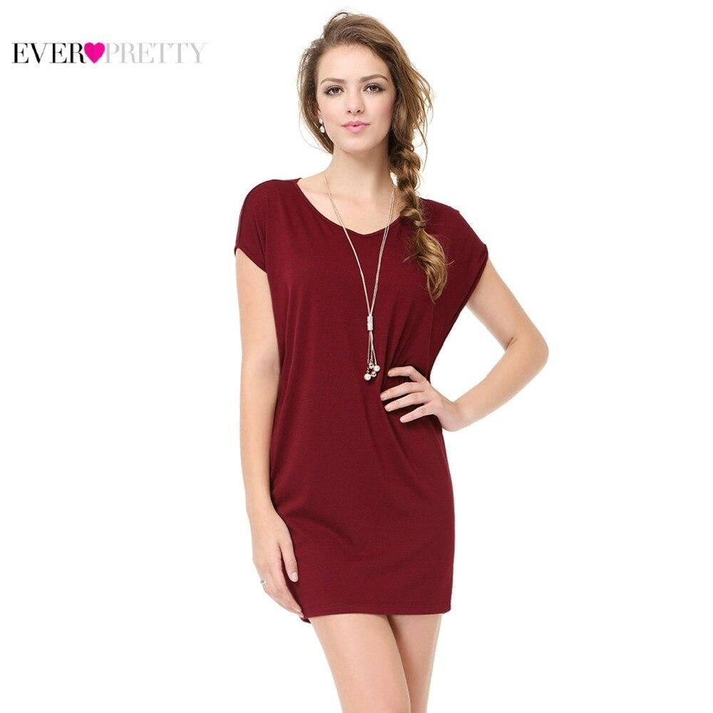 Burgundy   Cocktail     Dresses   Short Sleeve V-Neck Above Knee Straight Sexy Slim 2019 Ever Pretty AP01009 Vestidos Cortos De Coktel