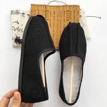 Резиновая подошва с круглым вырезом под горловину, открытое детское дышащая даосская обувь китайские традиции обувь Тай чи обувь кунг-фу обувь для ушу черный