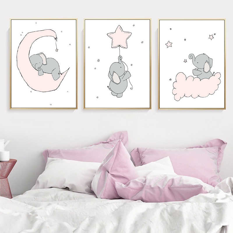 Baby Nursery Wall Art Canvas Painting Animal Nordic Posters Prints Elephant Moon and Stars Wall Pictures Kids Girls Room Decor