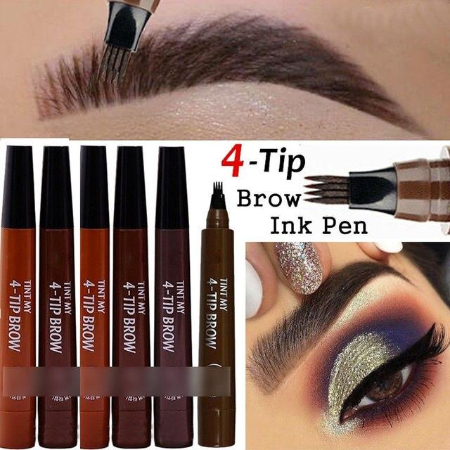 9 Colors 4 Head Henna Eyebrow Marker Pencil Microblading EyeBrow Thin Pen Painless Liquid Eyebrows Shades Makeup Eyebrow Tattoo Pencil Eyebrow Henna 1