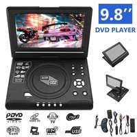 9.8 Inch Portable DVD Player Rechargeable 270 Degree Rotating Screen Digital Multimedia Player for Cars TV DVD Game MP4 Outdoor