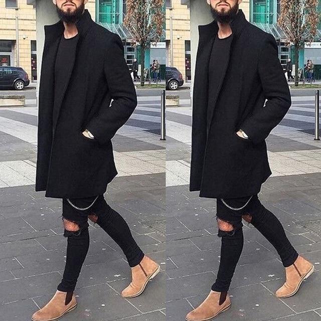 New Men Fashion Men Winter Warm Wool Coat Outwear Long Overcoat