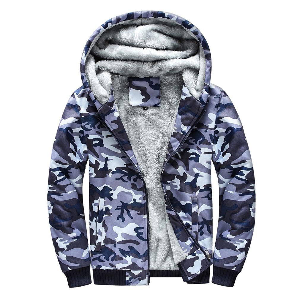 Rebicoo Jacket Parka Men Coat Winter Clothing Mens Camouflage Hoodie Warm Fleece Zipper Sweater Jacket Outwear Coat Male Parkas