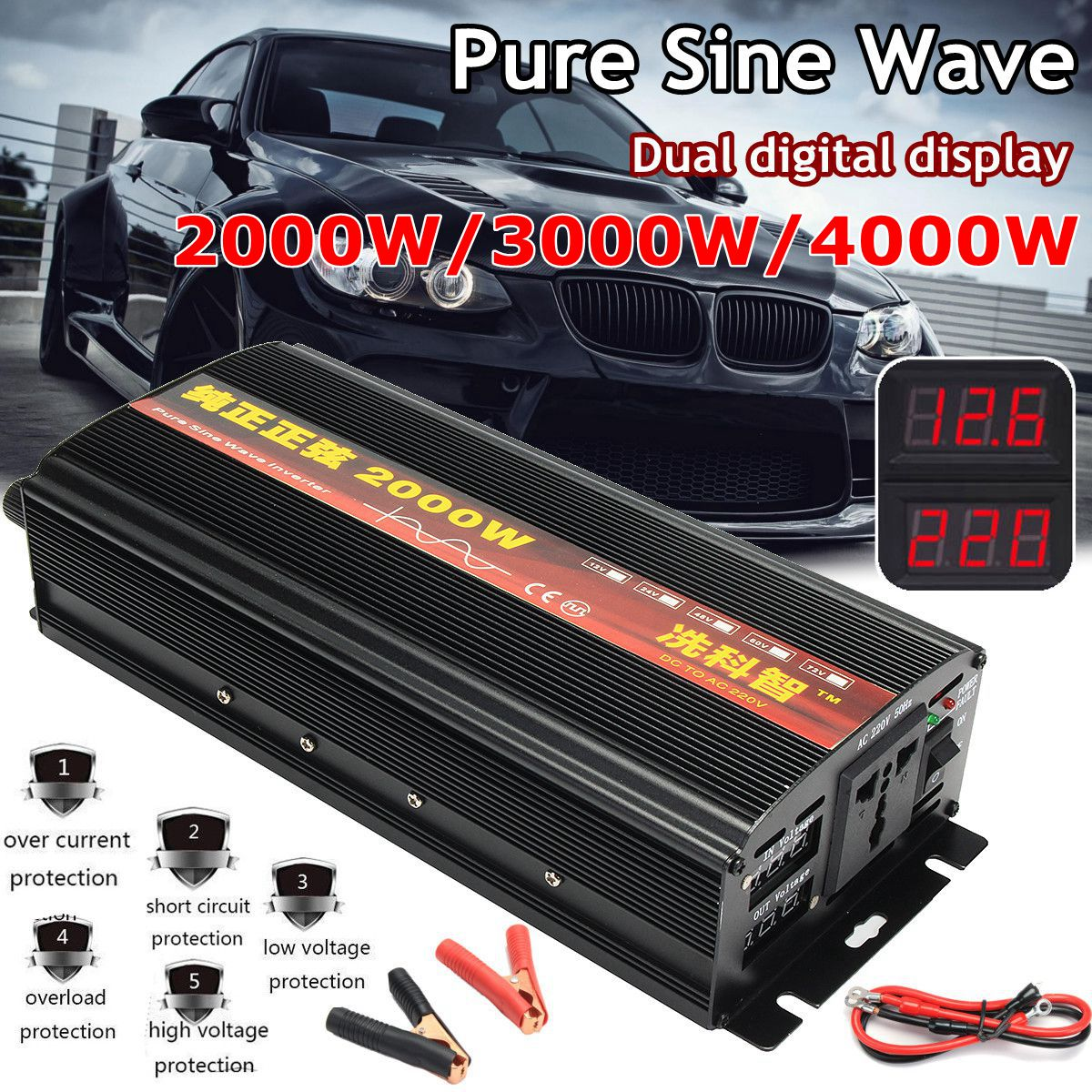 Onduleur 12 V/24 V 220 V 2000/3000/4000 W transformateur de tension pur onduleur à onde sinusoïdale DC12V à AC 220 V convertisseur + 2 LED affichage