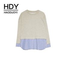 HDY Haoduoyi Cuff Opening And Splicing Hem Fake Two-piece Sweatshirt autumn plus size kawaii ladies street style long sleeve