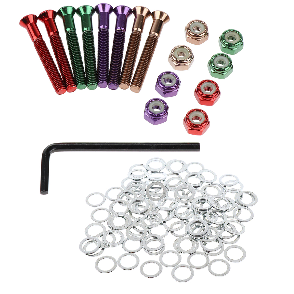 Skateboard Hardware Set Truck Axle Speed Washers And 1.5inch Screws Nuts Kit