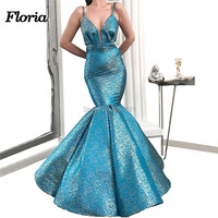 Sparkly Blue Mermaid Evening Party Dresses Moroccan Kaftan Arabic Dubai Prom Dress New Handmade V Neck Party Gowns 2019 Vestidos