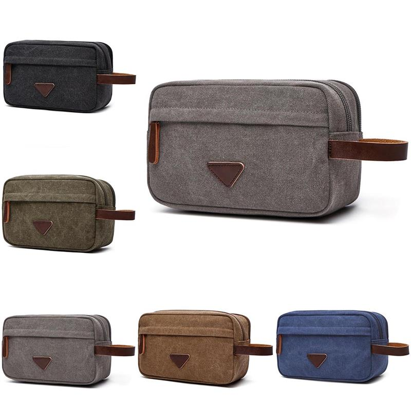 Men Travel Organizer Bags For Shaving Kits Canvas Cosmetic Makeup Toiletry Bag Double Compartments Women Beauty Case