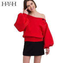 HYH HAOYIHUI 2018 Harajuku Women Solid Color Top Long Sleeve Collar Off Shoulder Sweatshirt Pullover