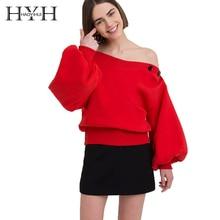 HYH HAOYIHUI 2018 Harajuku Women Solid Color Top Long Sleeve Collar Off Shoulder Sweatshirt Pullover