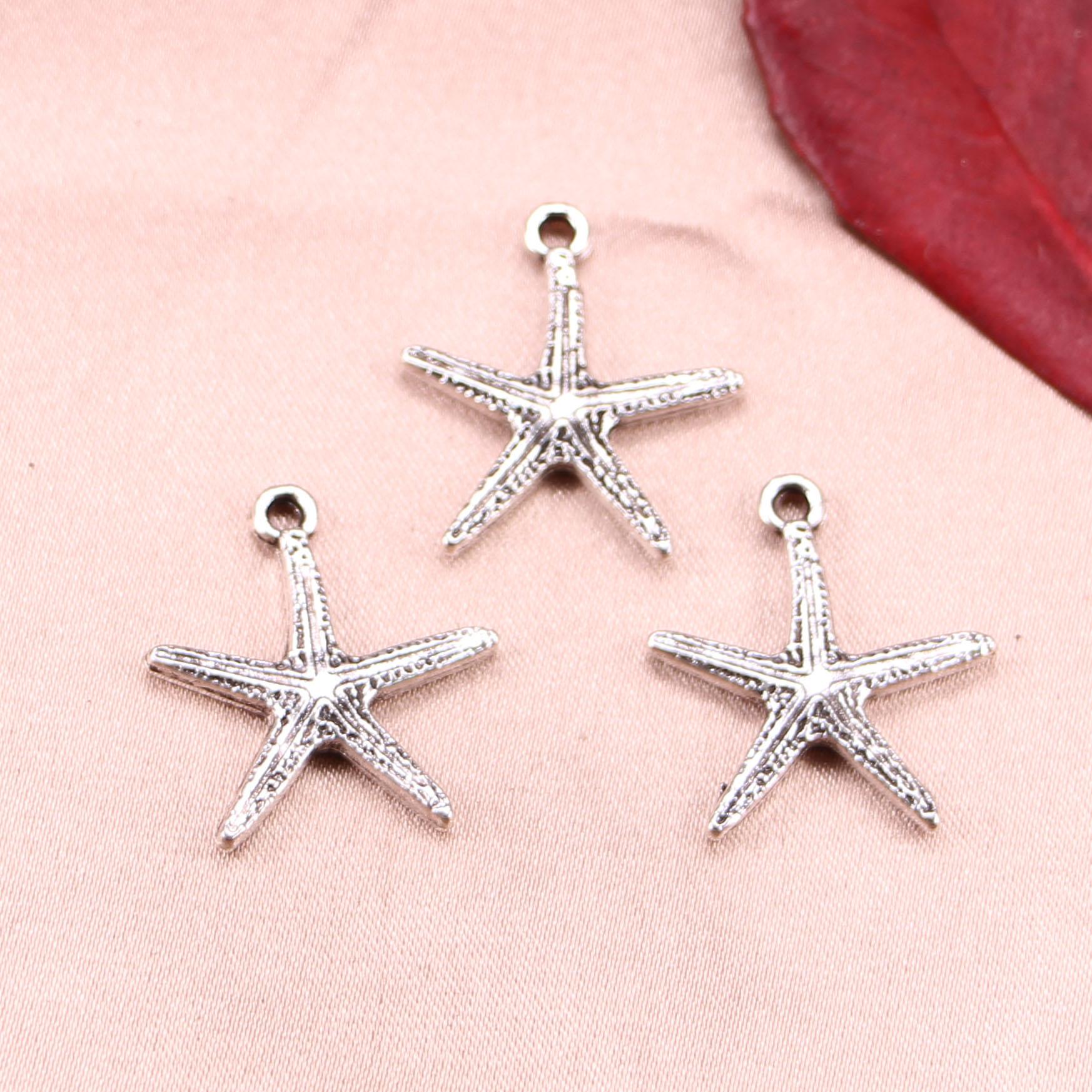 30pcs Starfish Beads Tibetan Silver Charms Pendant Fit DIY Bracelet 20*18mm