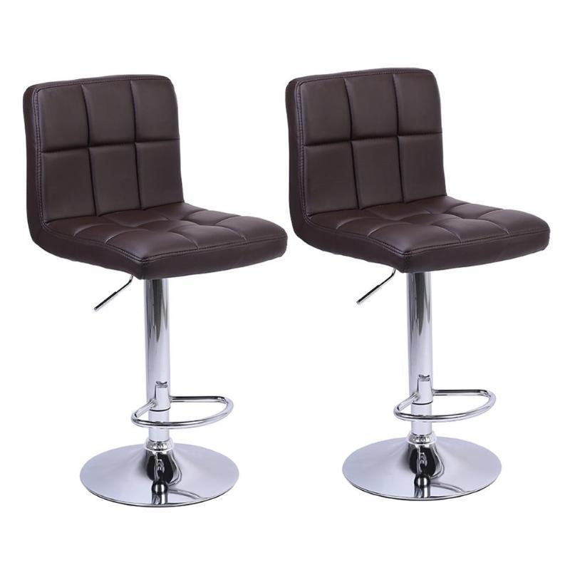 2pcs Set Pu Leather Swivel Bar Stools Chairs Height