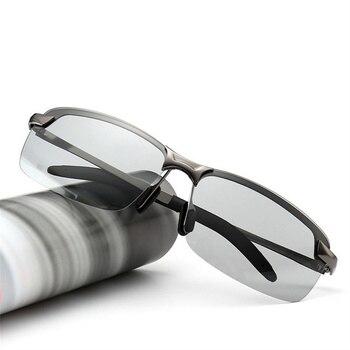 aa501fb5268af Chameleon Descoloração XojoX Homens Photochromic Polarizada Óculos De Sol  Do Vintage Masculino óculos de Sol Sem Aro Dia Noite Óculos de Condução