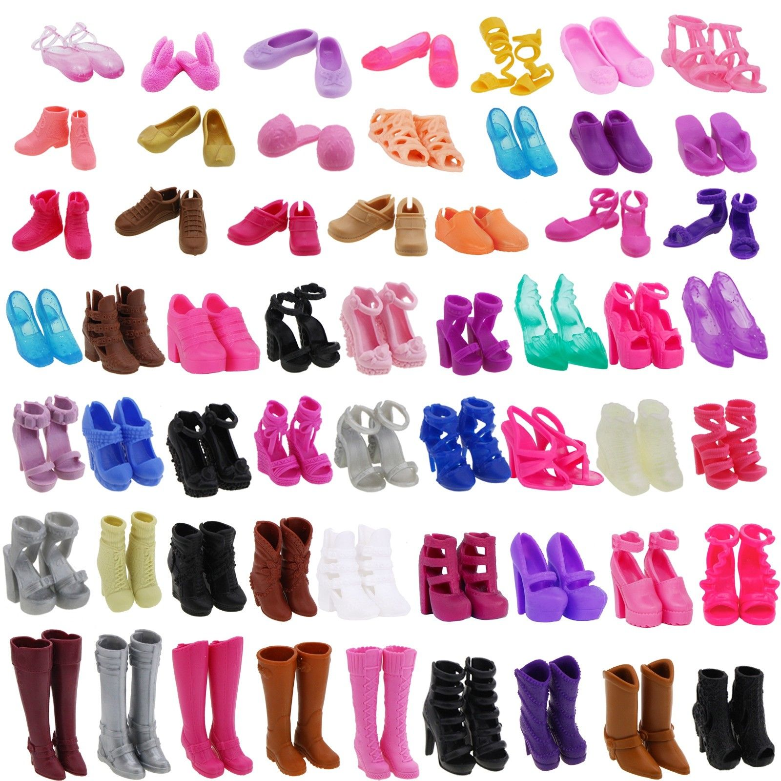 437d3032db4 Random 20 Pairs Lady High Quality Fashion Boots Flats High Heel Sandals  Dinner Party Clothes Accessories Shoes For Barbie Doll