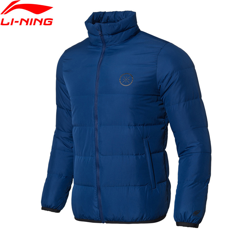 Li-Ning Men Wade Series Short Down Coat 90% Grey Goose Down Warm Polyester Slim Fit LiNing Fitness Sports Coats AYMN065 MWY312