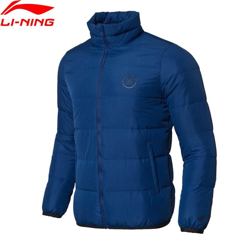 Li-ning hommes Wade série manteau court vers le bas 90% gris duvet d'oie chaud Polyester Slim Fit doublure Fitness Sports manteaux AYMN065 MWY312
