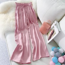 Summer Women's Wide Leg Pants Loose Lace Up Silk Satin Beach Pants High Waist Straight Casual Trousers lace up color block selvedge embellished straight leg pants for men