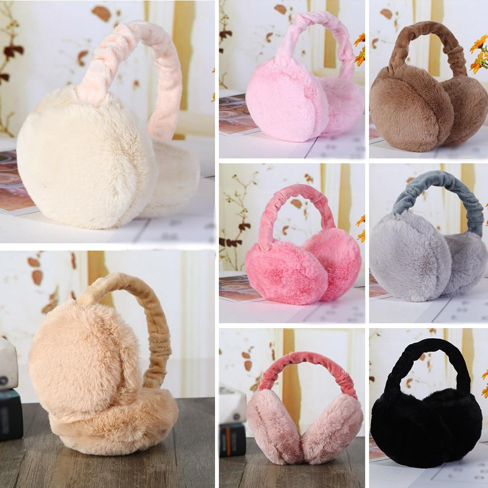 YJSFG HOUSE Women Faux Fur Earmuffs Folding Imitation Rabbit Fur Winter Earmuffs Ear Warmer Cover Girls Fashion Solid Earmuffs