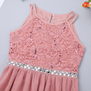 Image 4 - iEFiEL Cute Flower Girls Dress Sleeveless Sequined Floral Lace Shiny Dress Children Kids First Communion Party Summer Dresses
