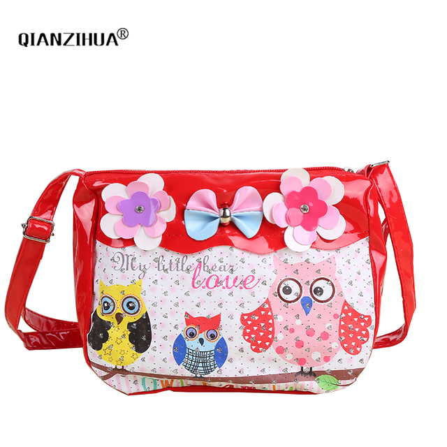 Cartoon Baby Girls Mini Bags Owl Printing Kids PU Leather Messenger Bags  for kindergarten girl crossbody shoulder bags