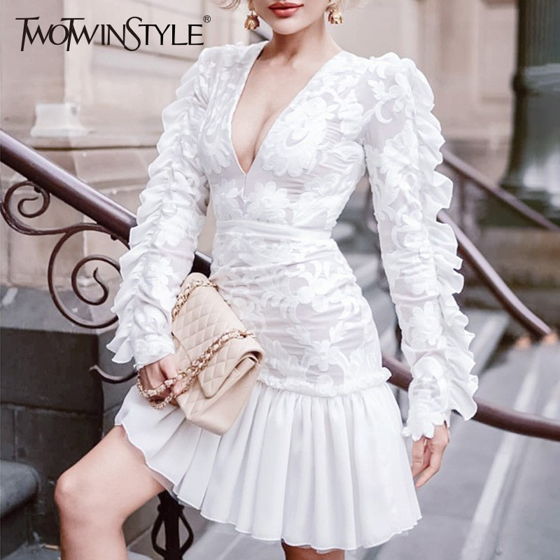 TWOTWINSTYLE Elegant Dress Female V Neck High Waist Long Sleeve Patchwork Ruffle Evening Party Dresses Women