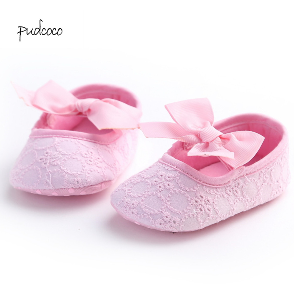 Infant Newborn Baby Girl Lace Crib Pram Shoes Bow Soft Sole Shoes Prewalker