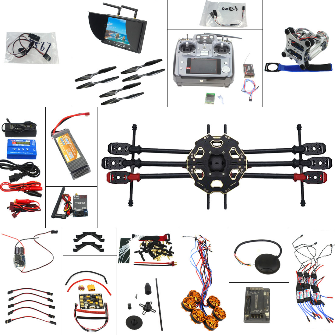 Jeu complet bricolage FPV Drone 6 axes hélicoptère Tarot 680PRO cadre APM 2.8 contrôle de vol AT10 transmetteur avec Kit FPV Hexacopter RC