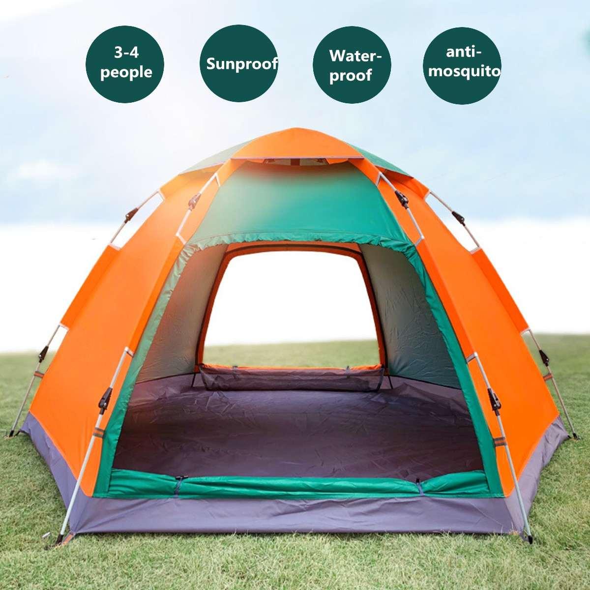 3-4 personnes en plein air Camping tente automatique instantanée Pop Up étanche famille grand parasol auvent dôme tente Camping accessoires