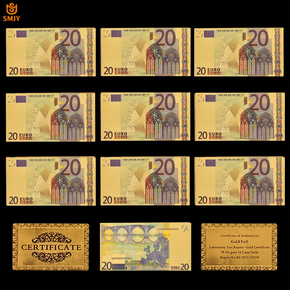 10Pcs/Lot Souvenir Gift For New European Replica Currency 20 Euro Bill Banknote In 24k Gold Plated Paper Money For Collection