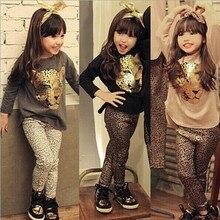 hot deal buy kids girls set spring and autumn 2019 leopard pants + leopard head t-shirt long sleeve children's clothing