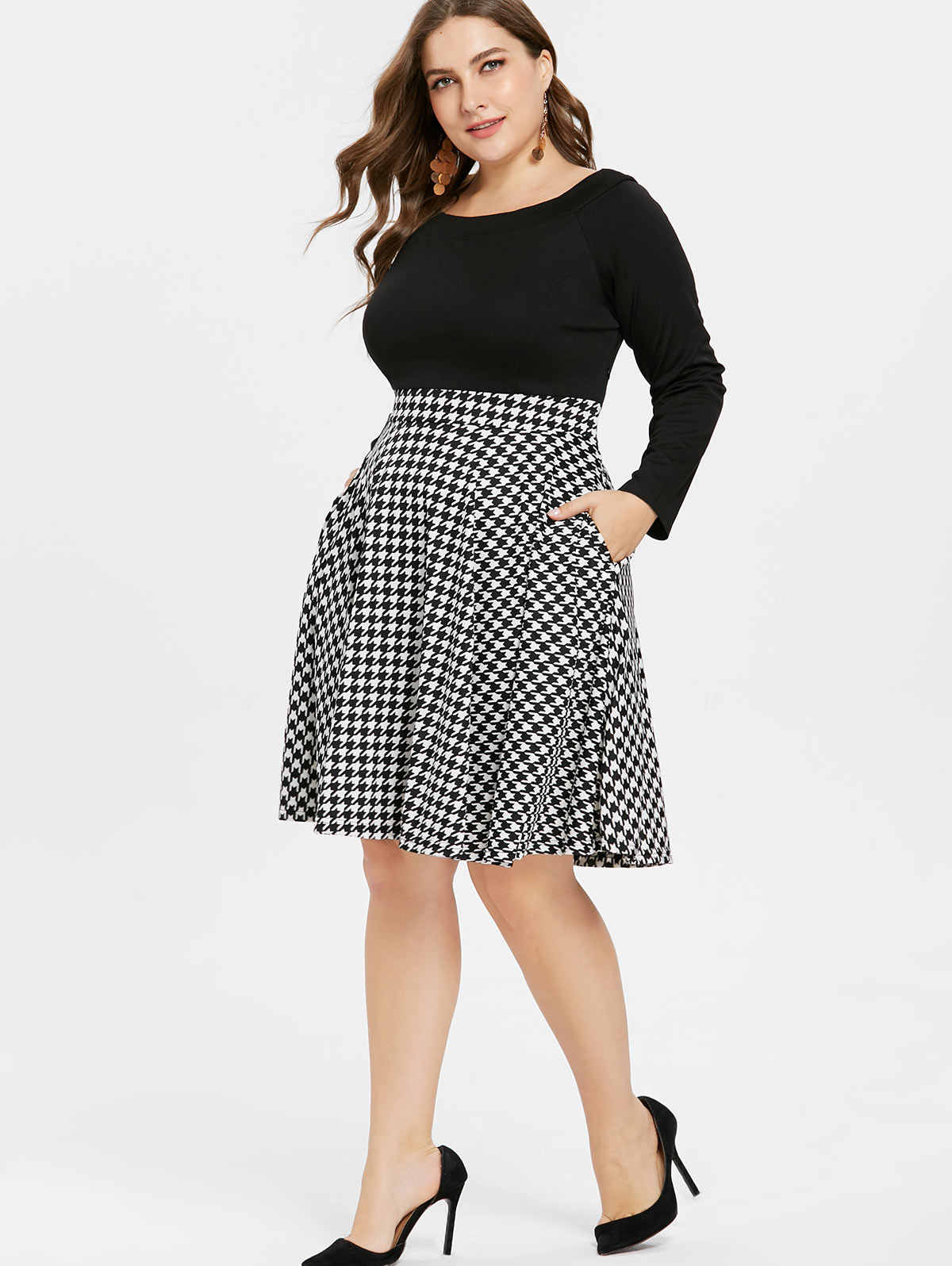 0da1fbc37f Wipalo Houndstooth Pattern Plus Size Long Sleeve Vintage Dresses Fit And  Flare A Line Knee Length Dress Vestido Party Dresses