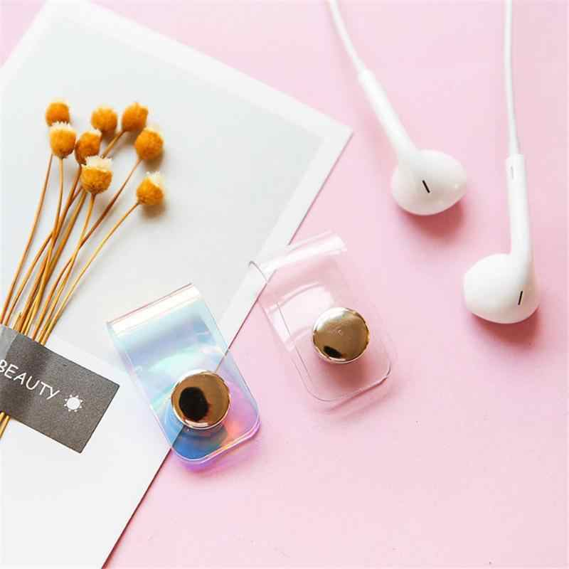 Cute Line Storage Clip PVC Laser Snap Button Winder Colorful Portable Earphone Data Cable Wire Storage Buckle Organizer