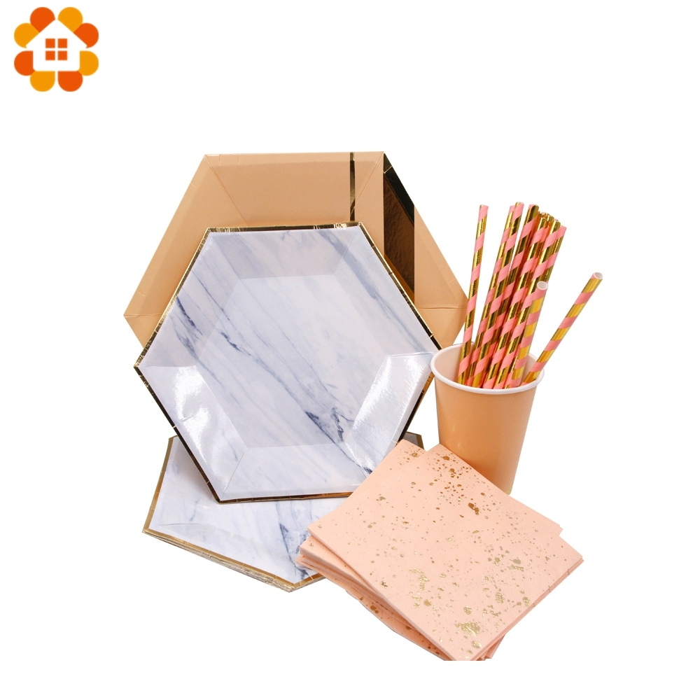 1Set Marble Disposable Tableware Rose Gold Gilding Paper Straws/Cup/Plates  Table Decoration Home Wedding/Birthday/Party Supplies