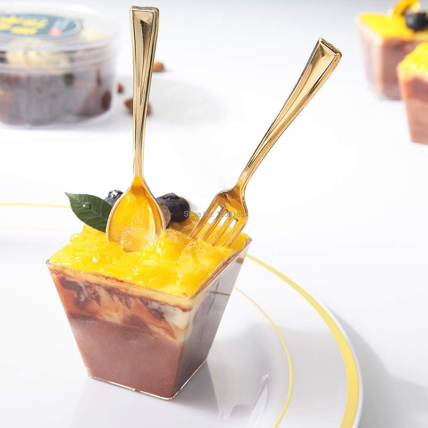 72pcs Plastic Disposable Gold Spoons And Mini Coffee Dessert Cake Forks Fit For Party Event