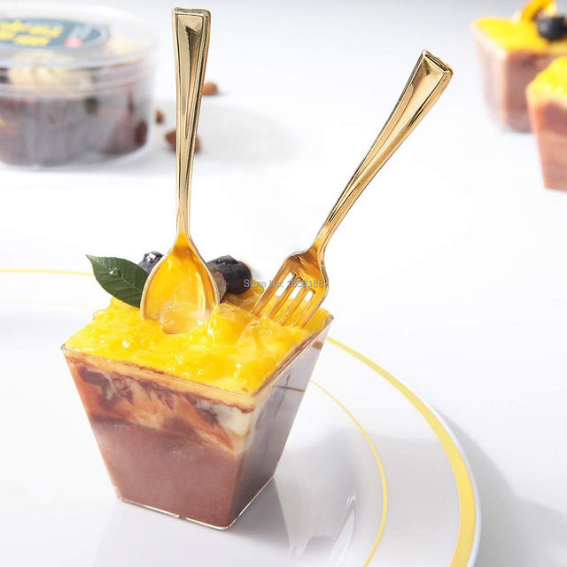 72pcs Plastic Disposable Gold Spoons And 72pcs Mini Gold Forks Fit For Party Dessert Coffe Cake Event