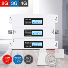 900 1800 2100 cellular signal amplifier lte gsm 4g 3g mobile booster cell phone Repeater Tri-band 70dB