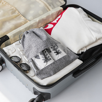 BUCHNIK 2Pcs/Set PVC Drawstring Shoe Bag Travel Packing Cube Clothes Protective Storage Pouch Trip Organizer Accessories Item