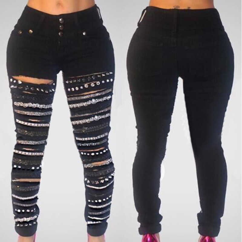 2018 nowe czarne trzy guziki wysokiej talii dżinsy z dziurami złoty łańcuszek damskie porwane jeansy Casual Vintage otwory damskie dżinsy typu boyfriend 1