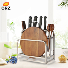 ORZ Kitchen Cutting Boards Organizer Knife Block with Drainboard Cutlery Tableware Holder Accessories Storage DryingRack