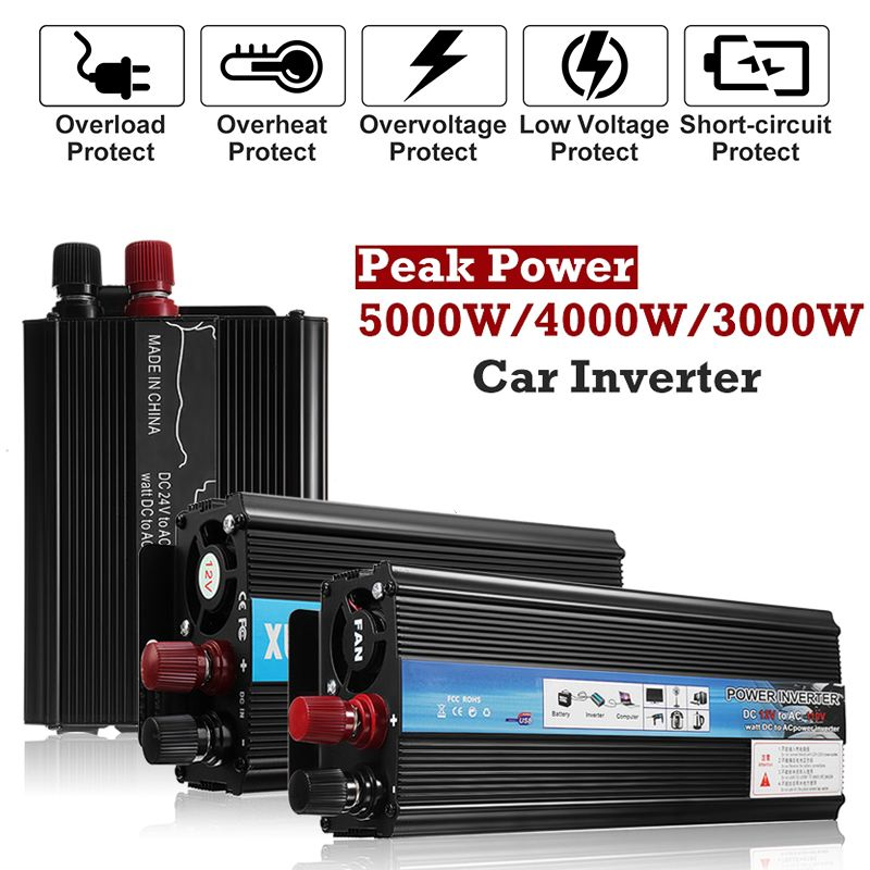 Car Solar Power Inverter Voltage Convertor Transformer 12V/24V DC to 110V/220V AC Autoleader Modified Sine Wave Peaks 5000WCar Solar Power Inverter Voltage Convertor Transformer 12V/24V DC to 110V/220V AC Autoleader Modified Sine Wave Peaks 5000W