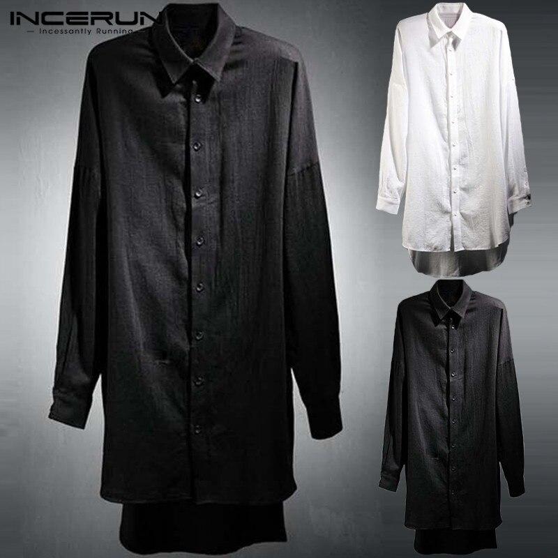 Punk Style Cloak Mens Shirts White Long Sleeve Long Tops Hiphop Harajuku Male Casual Tee Camisas Kurta Hombre Mens Clothing
