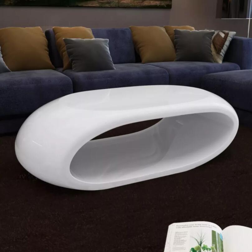 VidaXL Table basse solide haute brillance mode blanc brillant Tables basses salon Europe du nord Simple créative conception creuse