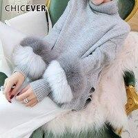 CHICEVER Patchwork Fox Fur Plush Sweater For Women Turtleneck Hit Colors Asymmetric Hem Sweater Tops Female Elegant Clothes Tide