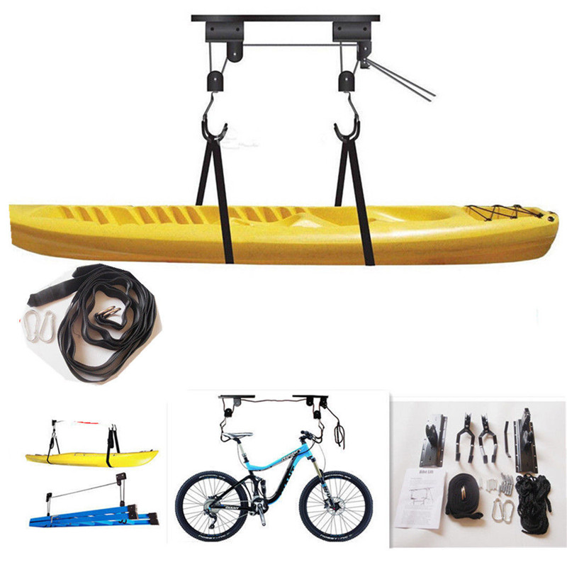 US $22 19 15% OFF|Kayak Hoist Canoe Boat Bike Lift Pulley System Garage  Ceiling Storage Rack Bicycle Rack With 15M Rope Capacity Max Load 60KG  New-in